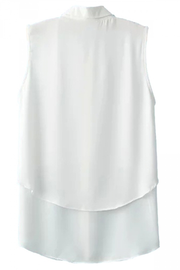 White Plain Turndown Collar Sleeveless Vintage Ladies Blouse
