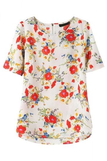 Red Ladies Retro Floral Printed Blouses