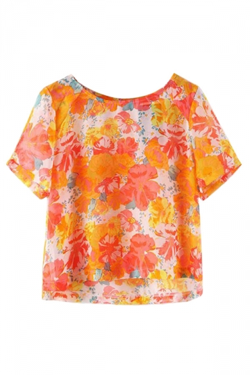 Red Ladies Floral Printed Chiffon Blouses