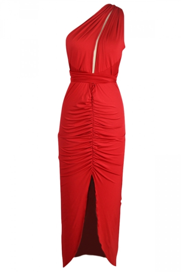 Red Pleated Cut Out Backless Slit Sexy Ladies Maxi Dress