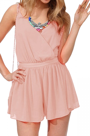 Pink Halter Backless Fashion Womens Romper