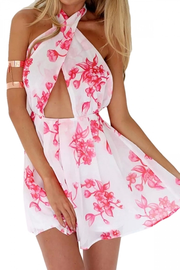 Rose Red Cross Halter Cut Out Backless Chic Ladies Romper
