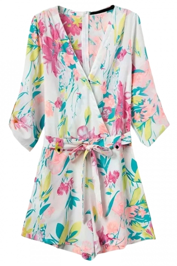 White Cross V Neck Floral Printed Half Sleeve Chic Ladies Romper