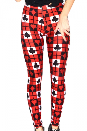 Red Ladies Multicolor Poker Cards Printed Leggings