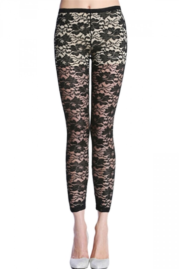 Black Floral Printed Sheer Sexy Charming Ladies Lace Leggings