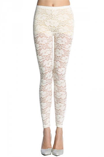 Beige White Floral Printed Sheer Sexy Charming Ladies Lace Leggings