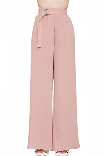 Pink High Waisted Elegant Womens Leisure Palazzo Pants