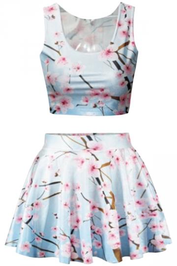 Pink Plum Blossom Printed Skirt Suit
