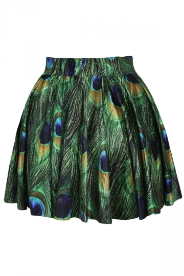 Green Peacock Printed Bubble Skirt Suit