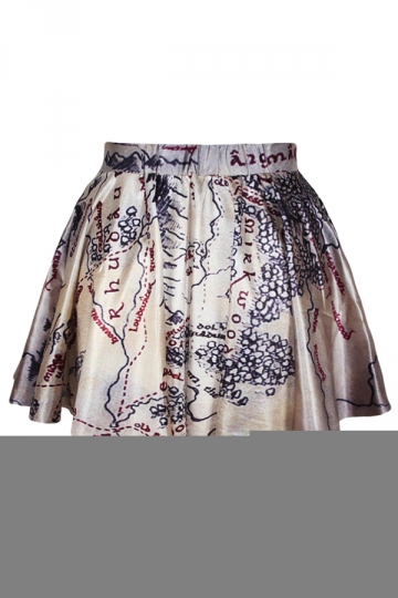 Gray Topographic Map Printed Skirt Suit