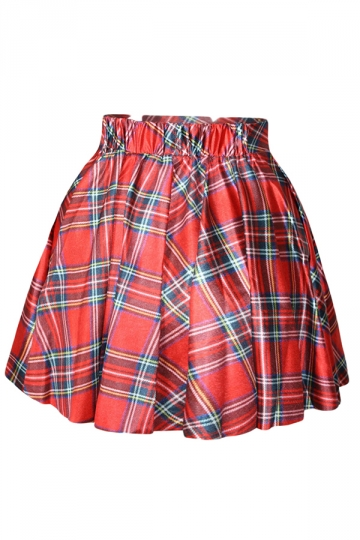 Red Scotland Grid Printed Skirt Suits