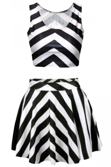 Black and White Strip Skirt Suits