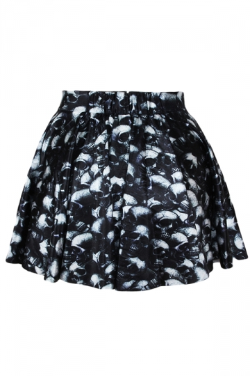 Black Skulls Printed Skirt Suits