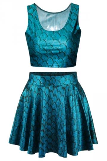 Blue Fish Scale Corset Dresses