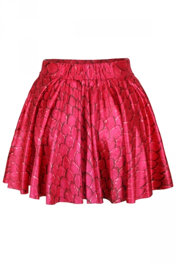 Red Fish Scale Bubble Skirt Suits