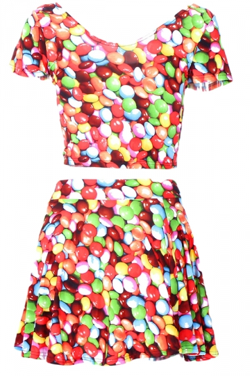 Red 3D Rainbow Candy Printed Chic Womens Skirt Suit