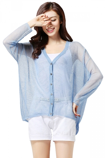 Blue Womens High Low Sheer Charming Cardigan Sweater
