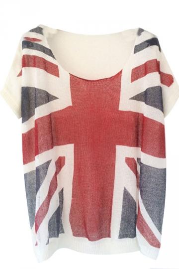 Navy Blue Union Jack Crochet Loose Womens T Shirt