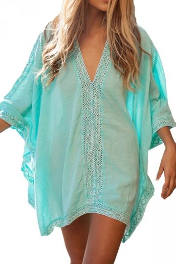 Blue V Neck See Through Chic Womens Beach Dress