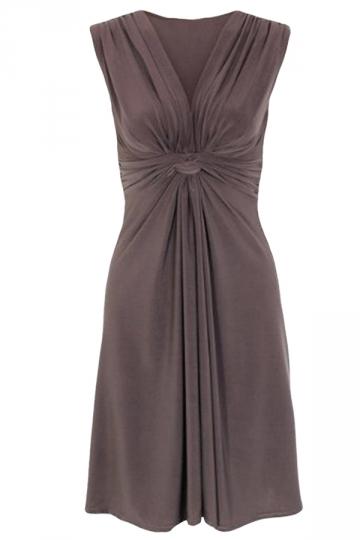 Coffee Sleeveless Ruffle Elegant Womens Midi Dress