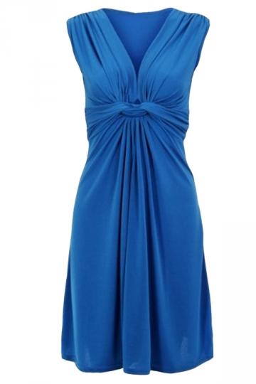Sapphire Blue Sleeveless Ruffle Elegant Womens Midi Dress
