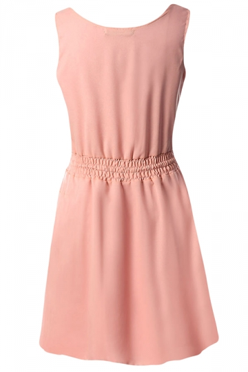 Pink Plain Sleeveless Tunic Fashion Womens Midi Dress