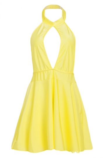 Yellow Ladies Hollow Out Patchwork Halter Midi Dresses