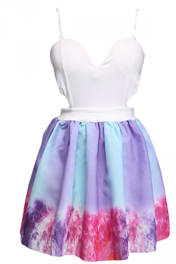 Purple Ladies Hollow Out Sky Printed Midi Dresses