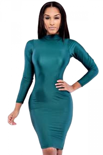 Turquoise Hollow Out In Back Long Sleeve Clubwear Dress