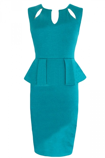 Green Ladies Over Hip Low Cut Hollow Out Midi Dresses