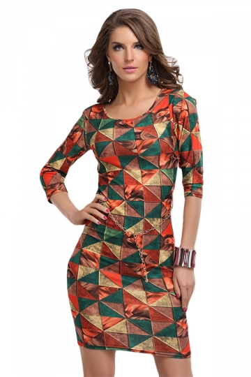 Orange Sexy Ladies Geometry Pattern Printed Shift Dress