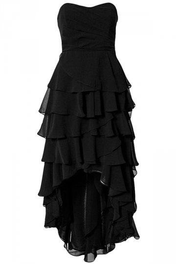 Black Ladies High Low Strpless Layered Maxi Dress
