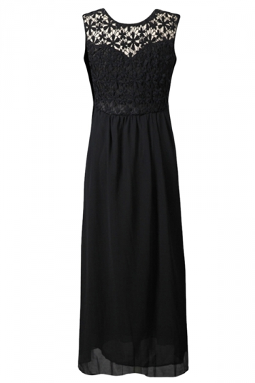 Black Ladies Backless Hollow Out Lace Maxi Dress