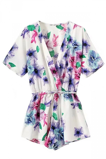 White V Neck Floral Printed Charming Womens Romper