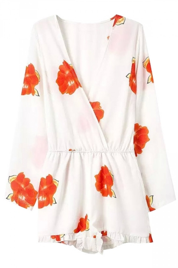 White Cross V Neck Floral Printed Fashion Womens Romper