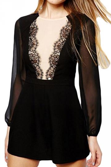 Black Lace Patchwork Long Sleeve Vintage Ladies Romper