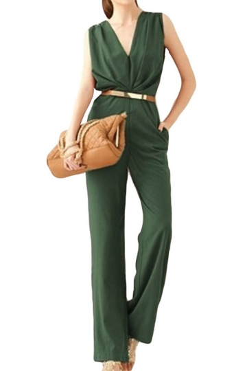 Green V Neck Sleeveless Elegant Ladies Jumpsuit
