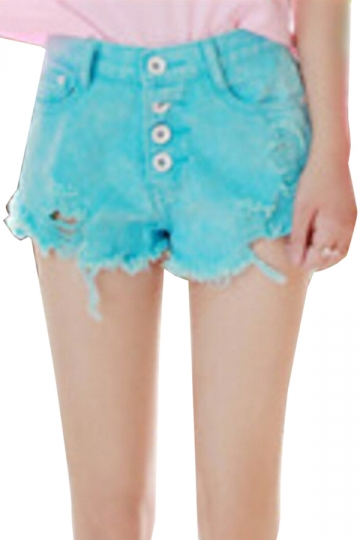 Turquoise High Waisted Ripped Chic Ladies Jeans Shorts