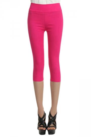 Rose Red Plain High Waisted Slimming Womens Capri Leggings