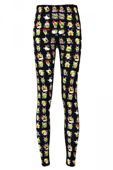 Black Rabbit Emoji Printed Cute Chic Ladies Leggings