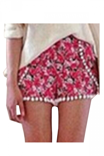 Rose Red Hawaii Floral Printed Fringe Fashion Ladies Shorts