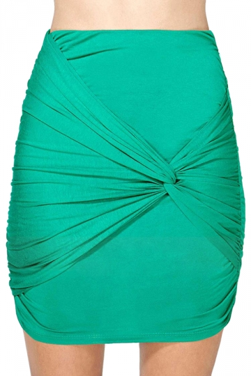Green Ladies High Low Tight Pleated Skirt