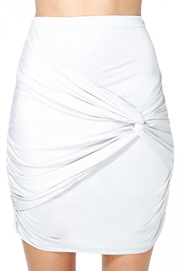 White Ladies High Low Tight Pleated Skirt
