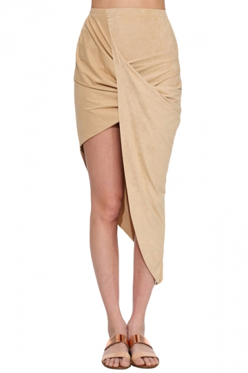 beige tight high low pleated skirt pink