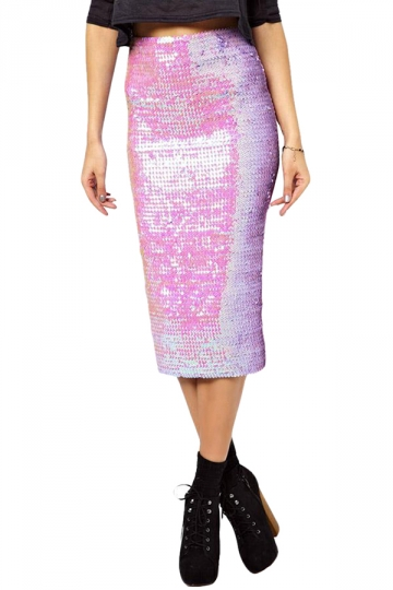 Pink Ladies Sexy Pearl Sequin Pencil Skirt