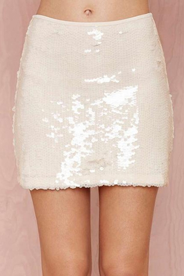 White Ladies Serpentine Sequin Mini Skirts