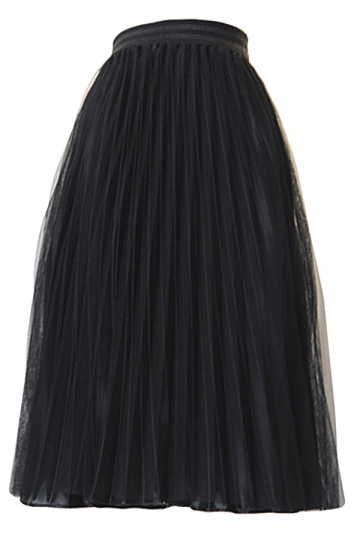 Black Pleated Mesh Foil Print Lined Womens Midi Skirt