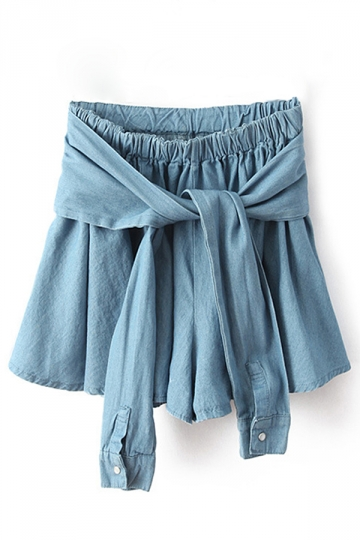 Sapphire Blue Denim Bow Fashion Womens Skort