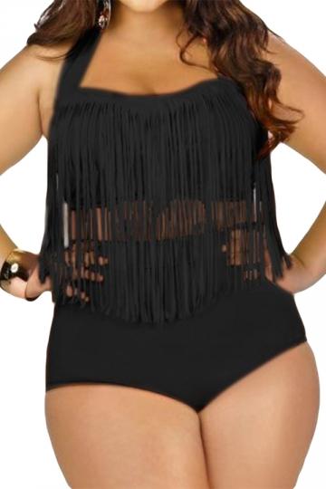 Womens Plus Size Sexy Fringe Top&High Waist Bottom Bathing Suit Black