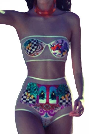 Blue Grid Swimwear Top Amp See Through Swimwear Bottom Pink